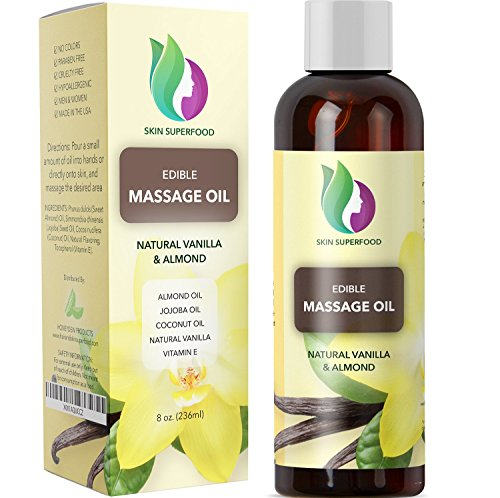 Erotic Massage Oil with Vanilla Bean Extract - Massage Therapy Oils for Sensual Massage with Pure Jojoba Sweet Almond and Coconut Oil for Anti Aging Skin Care - Deep Tissue Massage for Sore Muscles - Sensations Scented Shampoo