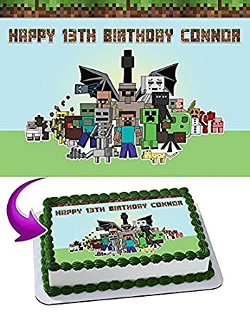 Amazoncom Minecraft Edible Cake Topper Personalized Icing Sugar
