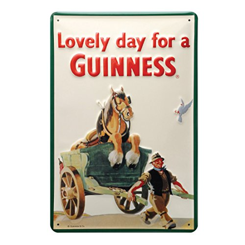 Guinness Metal Sign With Iconic Horse And Cart Design