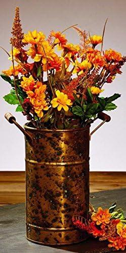 Market Street Antique Primitive Vintage Vintage Rust Brownic Brass Gold Color Metal Vase with Wood Handles for Flowers and Decor