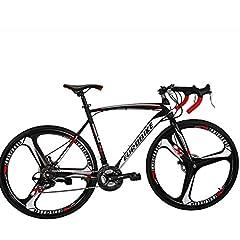 Bicycle Specification Frame:54CM Steel Road bike Frame Fork:Steel Fork Handlebar:Iron racing handlebar Stem:Aluminum, Black, 4Pcs Screws Tire:700C*28C Brake lever:Road bike Brake lever Shifter:A050 21 Speed F/Derailleur:TZ30 , Upward Pull R/D...