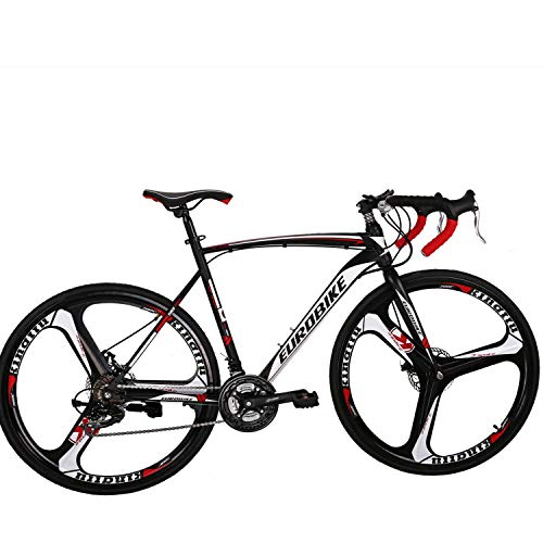 Eurobike Road Bike 700C Wheels 21 Speed Disc Brake Bicycle 54cm/Medium Frame Size (3 Spoke mag Wheel)