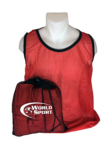 World Sport 12 Pack Adult RED Scrimmage Vests with Carry Bag