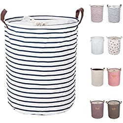 "DOKEHOM DKA0814BL2 17.7"" Large Laundry Basket (9 Colors), Drawstring Waterproof Round Cotton Linen Collapsible Storage Basket (Blue Strips, M)"