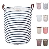 DOKEHOM 17.7' Large Laundry Basket (8 Colors, 17.7' and 19.7'), Drawstring Waterproof Round Cotton Linen Collapsible Storage Basket (Blue Strips, M)