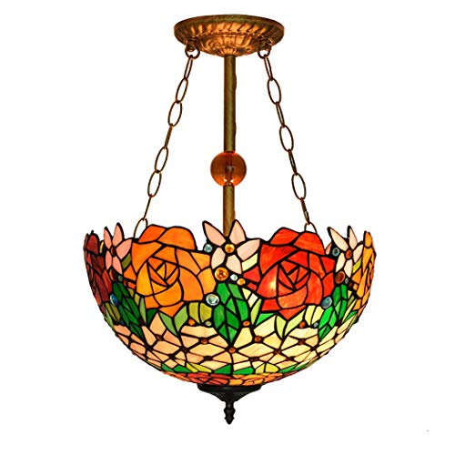 YJFFAN European Minimalism and Creative Red Rose Reverse Direction Hanging Lamps 16 Inch Tiffany Living Room Chandelier Restaurant Pendant Light Home Lighting, -