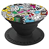 Abstract Party with Music Instruments - PopSockets Grip and Stand for Phones and Tablets