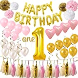 First Birthday Decorations for Girl/boy | 1st Baby Girl/boy Number 1 Balloon,Happy Birthday Foil Balloons Banner,'one' Cake Topper,Pink, Gold, White,Heart Latex Balloons,Paper Tassel,Paper Flower Ball