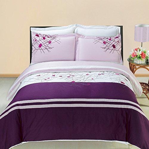 8pcs Queen size Bed in a bag Embroidered Cherry Wine duvet set Including Cotton 3pcs Duvet cover set+ 4pcs Queen sheet set+ 1pc Full/Queen Down Alternative comforter