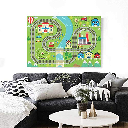 Kids Activity Wall Paintings Country Community Themed Activity Filled Town Amusement Park Farm Hospital Print On Canvas for Wall Decor 24