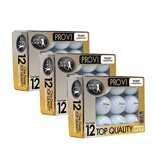 Links Choice LLC 36 Titleist ProV1 x 2016 AAAAA Mint Refinished Used Golf Balls Gold Foil Pack Link Foil