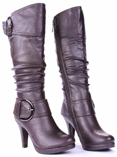 JJF Shoes Page-20 Brown Fashion Mid-Calf Slouch Zipper Buckle High Heel Boots-6.5 U8VZFp