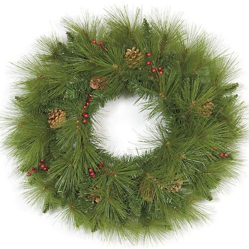 24 Inch Mixed Pine Wreath wtih Red Berries/Pine Cones Autograph Foliages (Christmas Autograph Foliage)