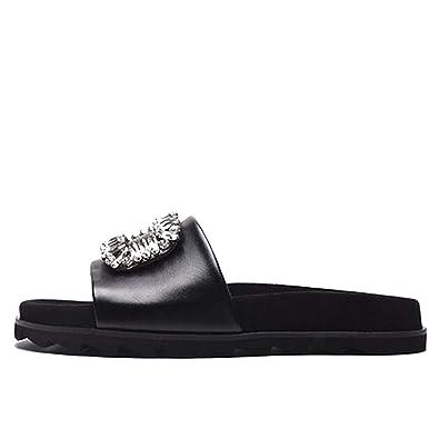 b2bbc45ee73ad6 Black Jewel White Designer Sandals Women Luxury 2018 Flat Slides Rhinestone  Soft Crystal Shoes