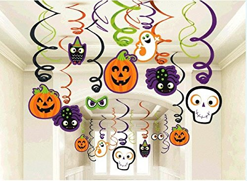 Family Friendly Halloween Creepy Creatures Swirl Ceiling Hanging Decoration, Foil, Pack of 30