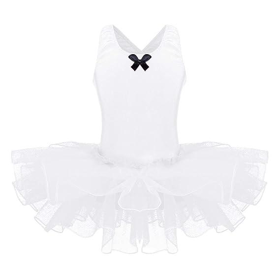 YiZYiF Vestido de Ballet para Niñas Maillot Tutú Danza con Falda Leotardo Clásico Body Baile Vestido Bailarina Princesa Ropa Rendimiento 3-12 Años