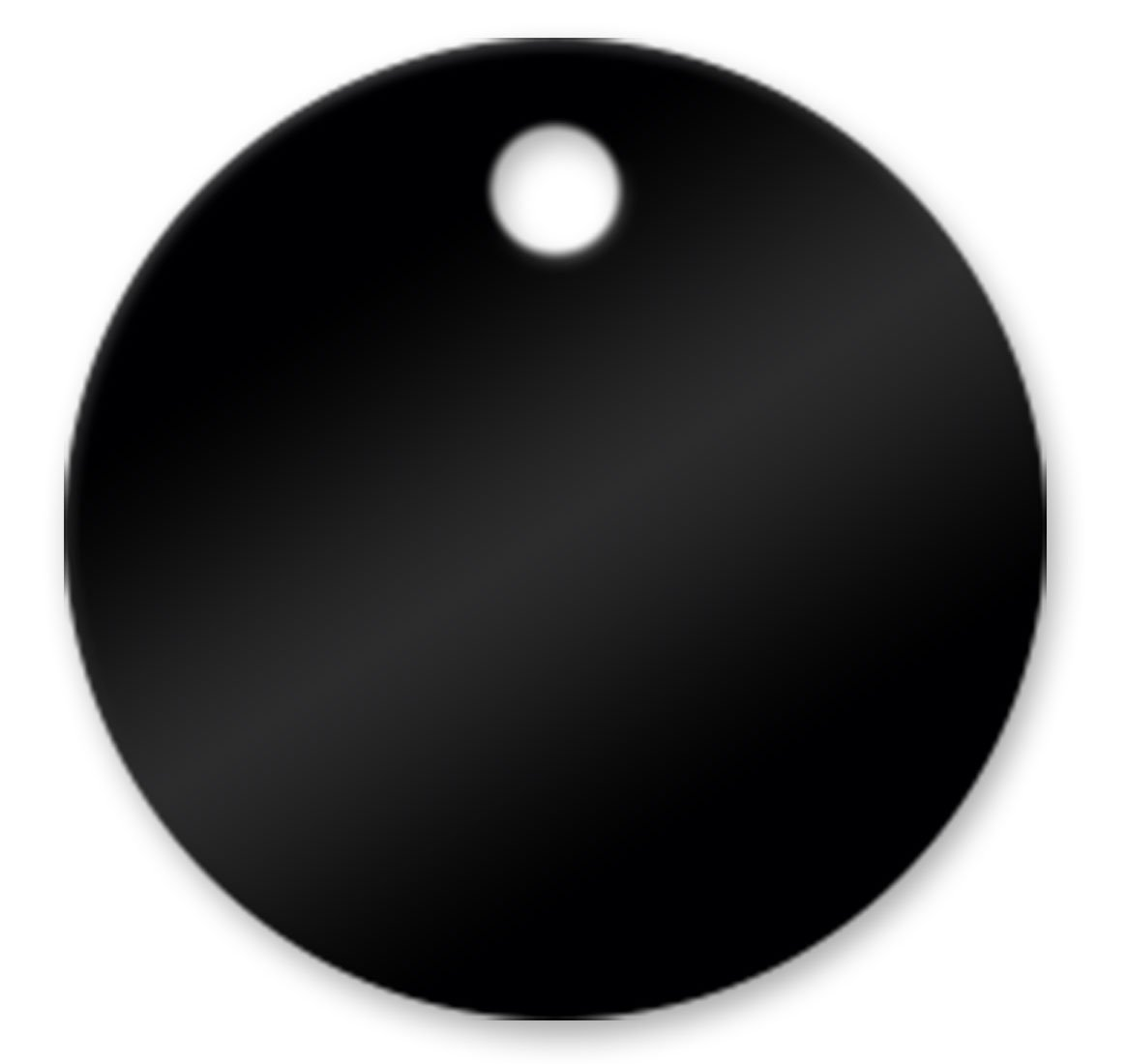 3'' Blank Round Solid Brass Tags - Pack of 25 (Black)
