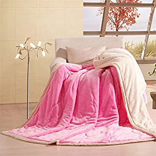 DoremiHome Flannel Velvet Plush Throw Blanket 47x78 Inch Girls Romantic  Style TV Blanket Solid Pink Throws