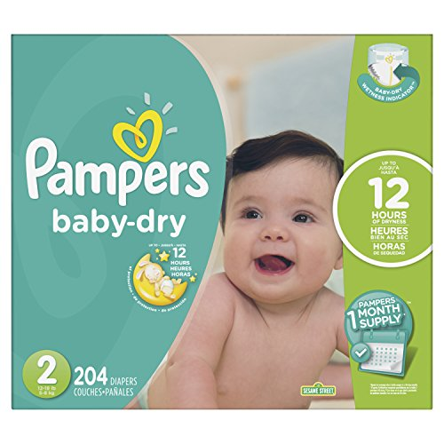 Pampers Baby-Dry Disposable Diapers Size 2, 204 Count, ONE MONTH SUPPLY