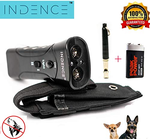 INDENCE Anti Barking Device, Ultrasonic Dog Bark Deterrent and Training Aid, No Shock, Control Long Range of 82 feet, Outdoor/Indoor use with Carrying Case and Ultrasonic Whistle