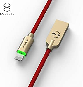 Smart LED Auto Disconnect Nylon Braided Sync Charge USB Data 4FT/1.2M Cable Compatible iPhone/iPad Pro/Air ,iPad mini,iPod (Red 4FT)