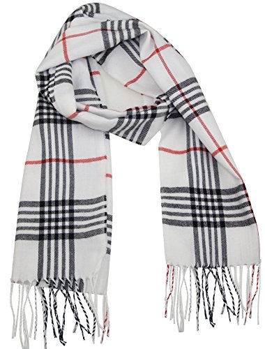 White Plaid Scarf (MINAKOLIFE Classic Cashmere Feel Winter Scarf in Rich Plaids)