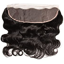 Aliglossy Brazilian Virgin Hair Lace Frontal Closure Body Wave Ear to Ear 13×4 Bleached Knots Baby Hair 100% Human Hair Extension Nature Color (16 inch lace frontal)