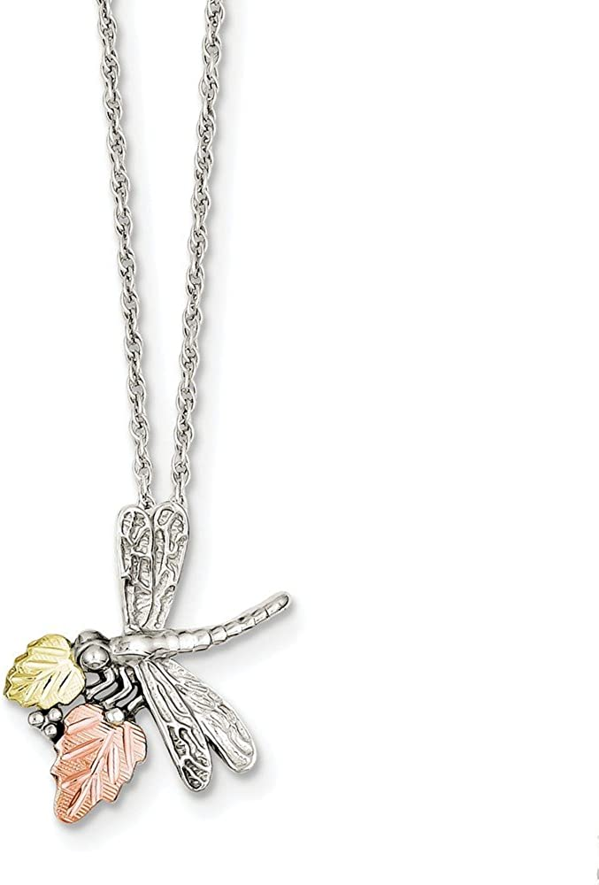 Brilliant Bijou Solid .925 Sterling Silver /& 12K Dragonfly Necklace 18 inches