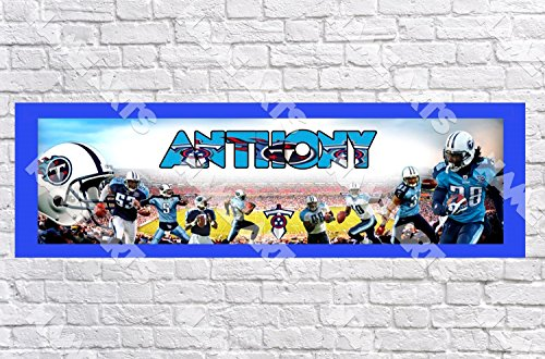 (Personalized / Customized Tennessee Titans Name Poster with Border Mat- Home Wall Decor Birthday Party Door Banner )