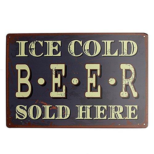 (Ice Cold Beer Tin Sign Vintage Metal Plaque Tavern Pub Bar Wall Decor)