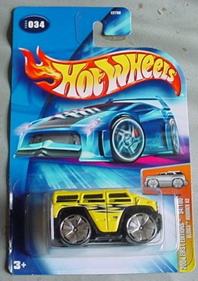 Hot Wheels 2004 Blings Hummer H2 First Edition YELLOW #034 #34 34/100 1:64 Scale -