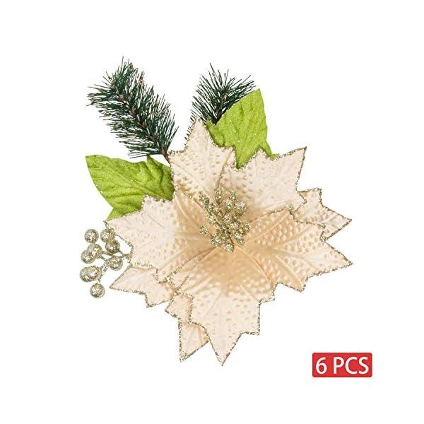 KI Store Christmas Poinsettia 6pcs Artificial Flower Picks Spray for Christmas Tree Decoration Wreath Garland (Champagne, 9-Inch)