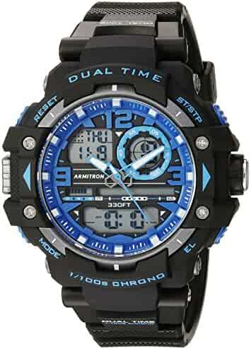 Armitron Sport Men's 20/5062BLU Blue Accented Analog-Digital Chronograph Black Resin Strap Watch