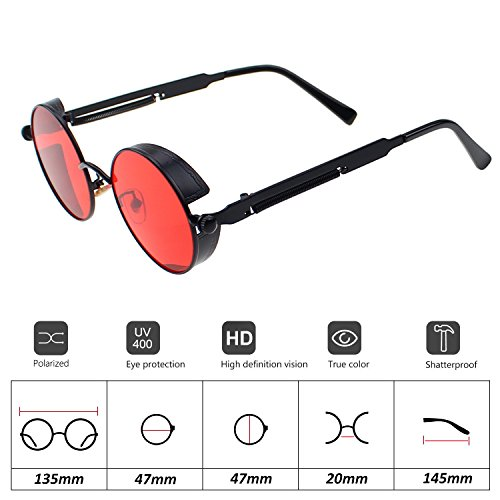 UV400 Sun Men Red Travelling Youtato Metal Frame Frame black for Sunglasses Glasses Retro Driving Women Shopping Steampunk Lens Outdoor Sports Vintage Protection HD Polarized wPAqfO8P
