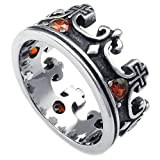 Beydodo Stainless Steel Ring (Punk Bands) Retro Crown CZ Ring Silver Size 7 For Men
