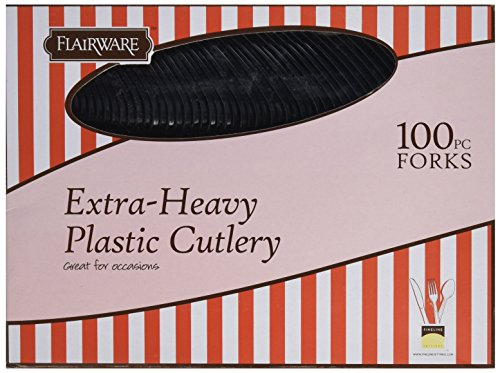Price comparison product image Fineline Settings 100-Piece Extra Heavy Cutlery Forks,  Black