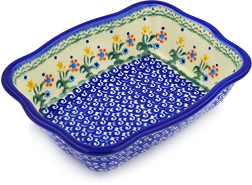 Polish Pottery Rectangular Baker 8-inch (Spring Flowers)