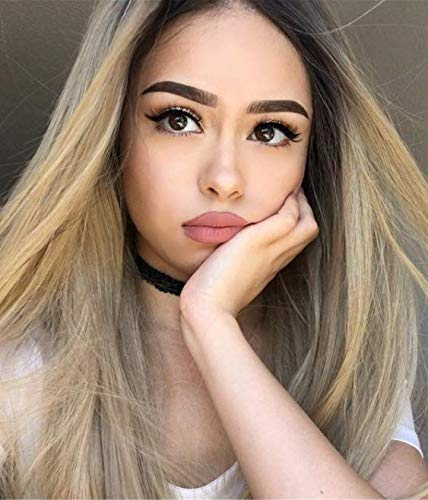 GNIMEGIL 68cm Long Straight Hair Blonde Wig Silky Straight Hairstyle Party Cosplay Wigs Heat Resistant Syntehtic Full Wig Middle Parting Ombre Blond Long Hair Wigs For Women Girls ...