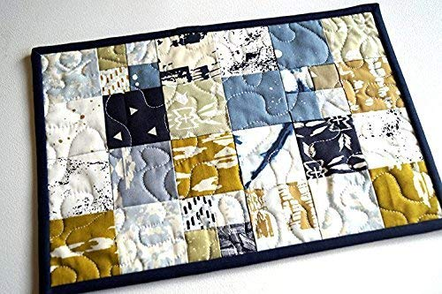 Indigo Blue and Mustard Yellow Patchwork Mini Quilt
