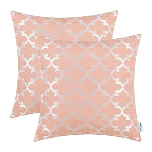 Pack of 2 CaliTime Soft Throw Pillow Covers Cases for Couch Sofa Home Decor, Modern Quatrefoil Accent Geometric, 18 X 18 Inches, Dusty Pink