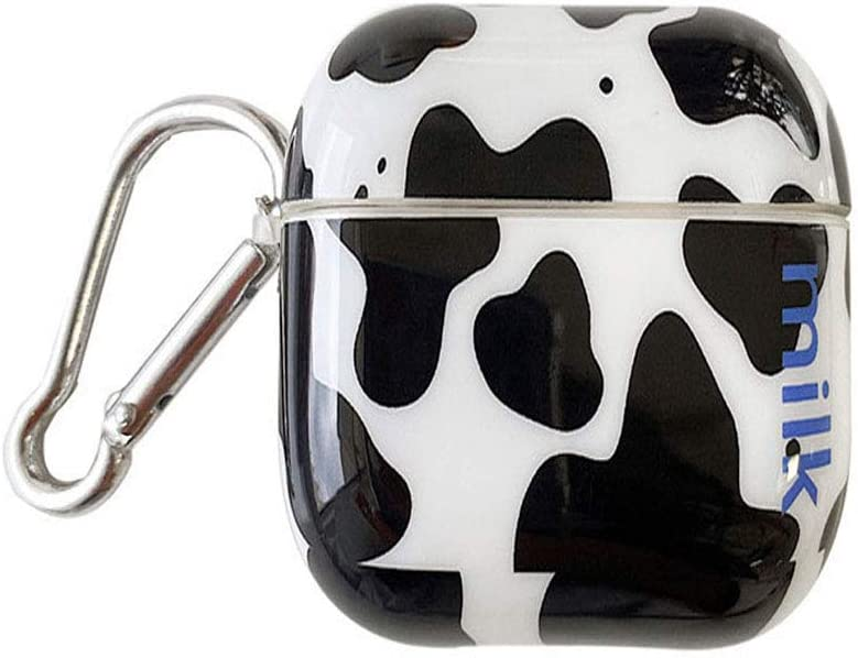 UR Sunshine AirPods 1/2 Case, Creative Milk Cow Pattern Glossy Surface AirPods Cover Case, Soft IMD Wireless Earphone Protection Case Compatible with AirPods 1/2 +Hook -Black White