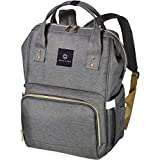Soulsten Diaper Bag Backpack, Stylish for Mom and Dad, Multi-Function, Waterproof Travel Baby Nappy Bags for Boys and Girls, Large Capacity and Durable, Grey