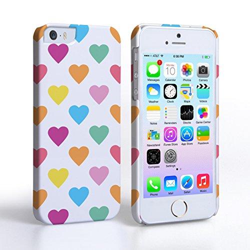 Caseflex iPhone 5 / 5S Hülle Mehrfarbig Polka Herzen Valentinstag Hart Hybride Schutzhülle