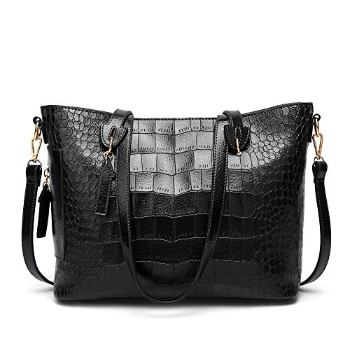 Cawmixy Satchel Women Shoulder Bags Classic Tote Ladies Designer Hobo Crocodile pattern Purses Woman Top Handle Bag (B Black)
