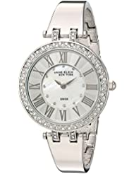 Anne Klein New York Womens 12/2255MPSV Swarovski Crystal Accented Silver-Tone Bangle Watch