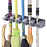 SHSYCER Mop and Broom Holder Wall Mounted Garden Storage Rack 5 position with 6 hooks garage Holds up to 11 Tools For Garage Garden Kitchen Laundry Offices
