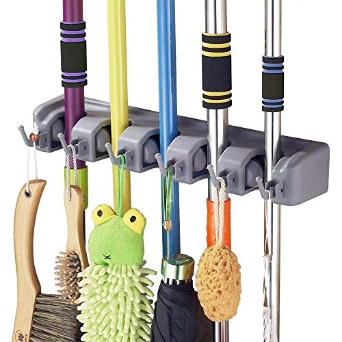 SHSYCER Mop and Broom Holder Wall Mounted Garden Storage Rack 5 position with 6 hooks garage Holds up to 11 Tools For Garage Garden Kitchen Laundry Offices by SHSYCER