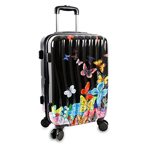 j-world-new-york-art-polycarbonate-carry-on-butterfly-luggage-black
