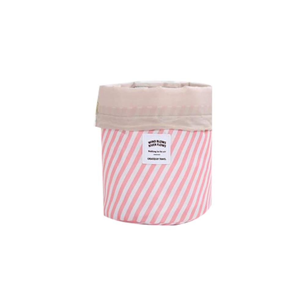 Cosmetic Bag Portable Travel Makeup Drawstring Bag Durable Waterproof Travel Organizer Pink Stripes Naisidier