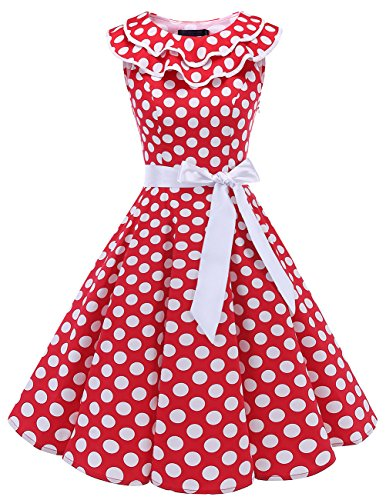 Red Fabulous Formal Evening Dress - Bridesmay Women's 1950s Vintage Ruffle Collar Rockabilly Swing Party Dress with Belt Red White Dot 2XL